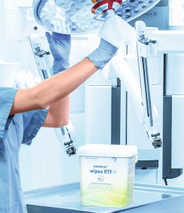 Neoform Wipes. Desinfektion af udstyr på klinik.